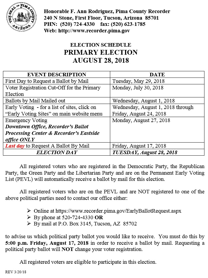 Election Schedule Primary Election