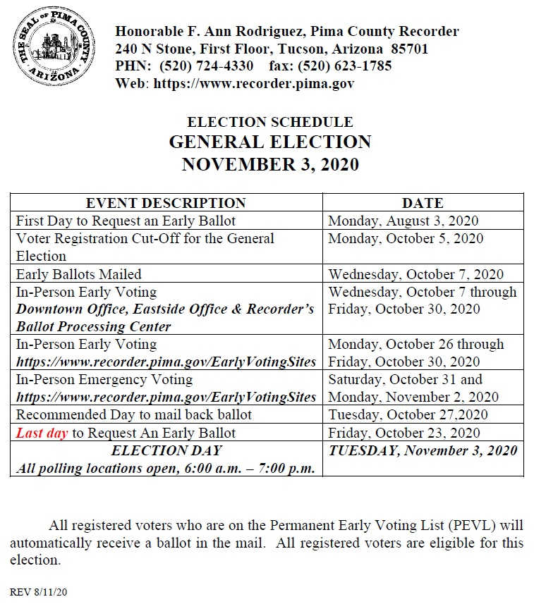 Election Schedule General Election November 3, 2020